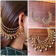 15 Gorgeous Gold Plated Jewellery Designs To Wear With Sarees Indian Bridal Jewelry Sets, Indian Jewelry Earrings, Fancy Jewellery, Jewelry Design Earrings, Gold Earrings Designs, Gold Jewellery Design, Stylish Jewelry, Bridal Jewellery, Diamond Jewellery