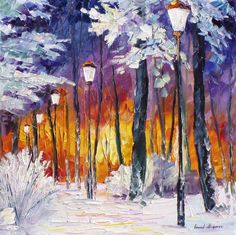 Art Gallery Painting - Winter Fire - Palette Knife Oil Painting On Canvas By Leonid Afremov by Leonid Afremov Simple Oil Painting, Oil Painting Texture, Winter Painting, Oil Painting On Canvas, Canvas Art, Winter Fire, Modern Art Deco, Palette Knife Painting, Leonid Afremov Paintings