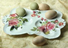 """Rosemary's Egg Platter    Continental breakfast fare, deviled delights or dyed hard boileds will perch upon a beguiling ceramic dish. Gift boxed. 11""""."""