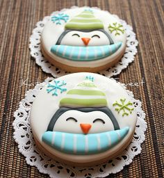 Penguin in the Snow Sugar - Winter Cookies - Christmas Cookies - Holiday Cookies - Snowflake Cookies - Penguin Cookies