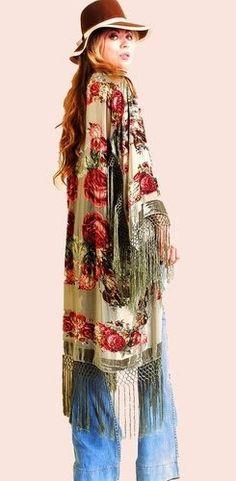 boho fringe floral kimono