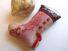 Little Silk Stocking Ornament Embroidered Silk Velvet by XmasMuse