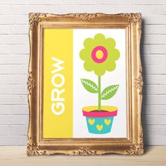 Grow Flower Print - Motivational Wall Decor - Printable Wall Art - 8 x 10 - Digital Art - Office Decor - Wall Art - Instant Download Art by DisfrutesPrints on Etsy