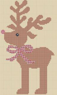 Stickeules Freebies: Weihnachten, Rentier, Kreuzstick, sticken, cross stitch