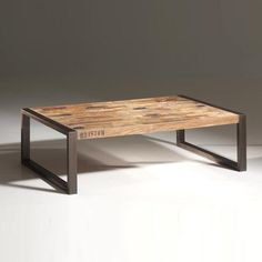 table basse en teck recycl et mtal isis - Table Salon Industrielle