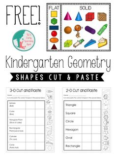 Grab these FREE Kindergarten Geometry pages for 2D and 3D shapes to use with your early learners. Just print-and-go!