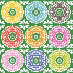Blend Fabrics Gabbie Kaleidoscope green fabric by bumbletees
