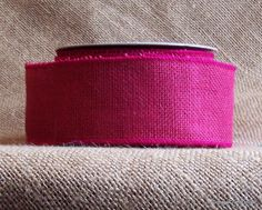 """Fuchsia Pink Burlap Wired Ribbon, 2 1/2"""" wide, from Cottage Crafts Online"""