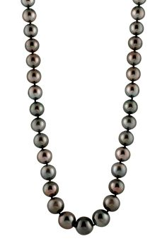 14K White Gold 12-15mm Black Tahitian Pearl Necklace