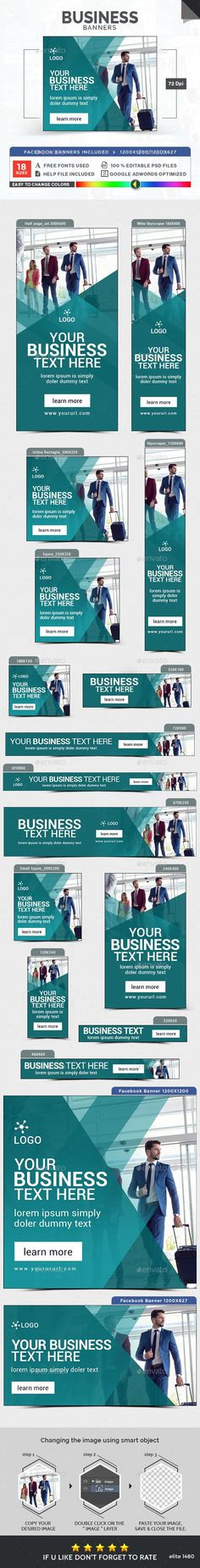 Business Banners — Photoshop PSD #google adwords #web banner • Available here → https://graphicriver.net/item/business-banners/16092272?ref=pxcr