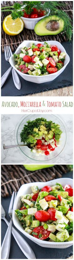 Avocado, Mozzarella, and Tomato Salad Her Cup of Joy Pinterest