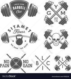 Set of vintage gym emblems, labels and design elements. Download a Free Preview or High Quality Adobe Illustrator Ai, EPS, PDF and High Resolution JPEG versions.