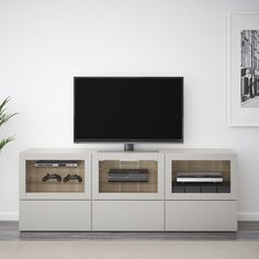 BESTÅ TV unit with doors and drawers - walnut effect light gray Lappviken, light gray clear glass - IKEA Ikea Living Room, Ikea Living Room Storage, Interior Design Living Room, Cheap Furniture, Home N Decor, Tv Unit, Ikea Interior, Home Decor Color, Ikea