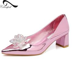 Patent Leather 2017 Latest Fashion Pointed Toe Thick with Shallow mouth Rhinestone Rose Gold Hot New Products Chic pumps shoes
