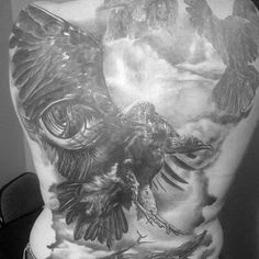 Mens Vulture With 3d Eye Back Tattoo