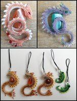 Brooches, charms by Rrkra on DeviantArt - Bead art with tutorial for making 'dragons' Beaded Crafts, Beaded Ornaments, Jewelry Crafts, Beading Projects, Beading Tutorials, Seed Bead Patterns, Beading Patterns, Beaded Brooch, Beaded Jewelry