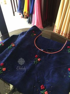 WhatsApp 9035330901 for hand embroidery dress materials customization. (No COD, No wholesale). Embroidery On Kurtis, Hand Embroidery Dress, Kurti Embroidery Design, Embroidery Suits, Bullion Embroidery, Indian Embroidery, Embroidery Fashion, Embroidery Stitches, Salwar Neck Designs