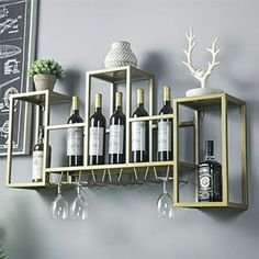 Iron Gold Wall Shelf Upside Down Wine Glass Holder Wall Hanging Wine Cabinet Hanging Wine Rack Hanging Wine Rack, Wine Rack Wall, Wine Glass Holder, Wall Racks, White Wall Shelves, Floating Shelves, Wood Wine Holder, Wine Wall Decor, Golden Wall