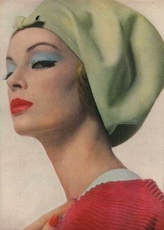 Nena von Schlebrugge (mother of Uma Thurman) wearing a pale green felt beret by Halston for Vogue, March 1962. Photo by Bert Stern.     (Source: weheartvintage.co)
