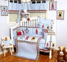 Lately, robots have been popping up in outer space nursery themes and are also a huge success in older boys bedrooms decorated with Disney and Pottery Barn Kids robot themed bedding sets. Description from unique-baby-gear-ideas.com. I searched for this on bing.com/images