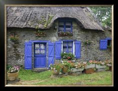 An English thatched-roof cottage with Blue door and windows.so welcoming Cottage Door, Cute Cottage, Cottage Living, Cottage Style, Stone Cottages, Cabins And Cottages, Stone Houses, Stone Cottage Homes, Country Cottages