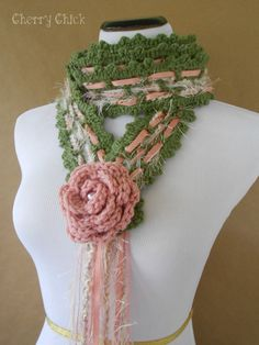 Missy Rose Hand Crocheted Lariat Scarf in Soft Rose Pink