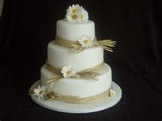Rustic Wedding Cake - Wedding Cake- but with orange Gerber Daisies!!