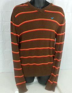 Hollister Men's Brown Sweater size L EUC red/orange stripes embroidered logo #Hollister #Crewneck