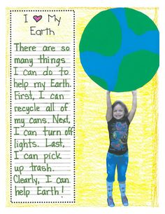 "I couldn't find the original post on the blog,  (I lost patience) but the picture is all you need. Take a picture of each child reaching up, they make a simple ""world"", then write why they love it! Very nice idea for Earth Day!"
