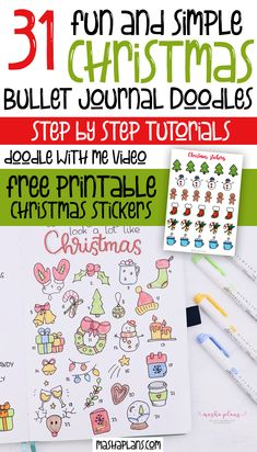 31  Christmas doodles for your Bullet Journal. Including a free printable doodle worksheet and printable Christmas stickers. Click to add some Christmas spirit to your Bullet Journal pages. #mashaplans #bulletjournal #bujoideas #christmas #howtodoodle