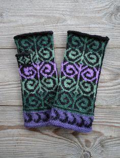 Fingerless Gloves  Green and Purple Fingerless by lyralyra on Etsy