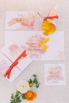 Partecipazioni di matrimonio con acquerello sfumato sui toni del rosa e del corallo!