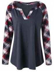 Plus Size Raglan Sleeve Plaid T-shirt