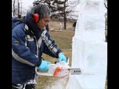 Live ice carving demo at Downsview Park Toronto