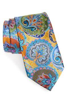 Ermenegildo Zegna 'Venticinque' Paisley Silk Tie available at Men Suit Shoes, Yellow Ties, Paisley Tie, Mens Silk Ties, Tie Accessories, Cool Ties, Tie And Pocket Square, Pocket Squares, Sharp Dressed Man