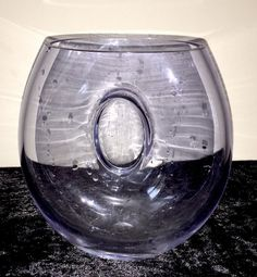 Scandinavian Art Glass Purple Glass Vase With Sealed Centre Disc (Kluk Kluk?)