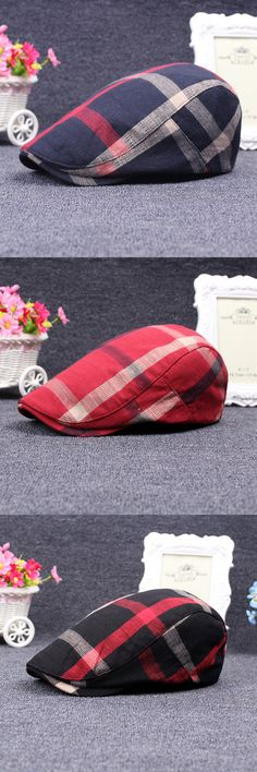 Men Women Plaid Grid Berets Caps / Casual Cotton Flat Hats