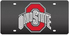Ohio State Buckeyes Inlaid Acrylic License Plate with Carbon Fiber Design
