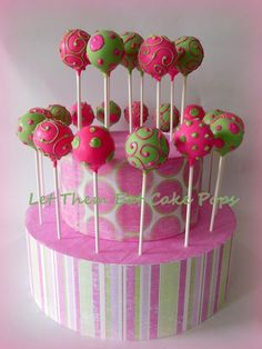 """""""Ready to POP"""" pink and green baby shower cake pops by Let Them Eat Cake Pops ~ … """"Ready to POP"""" rosa und grüne Babyparty Cake Pops von Let Them Eat Cake Pops ~ www. Zombie Disney, Cake Pops Rosa, Disney Cake Pops, Zombie Birthday Parties, Zombie Party, 9th Birthday, Birthday Cakes, Chocolates, Pink Und Gold"""