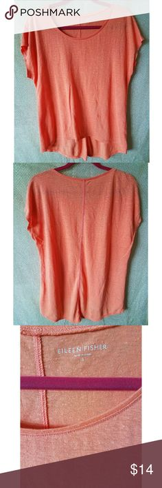 """Eileen Fisher orange short sleeve tee size small Eileen Fisher orange short sleeve tee size small, well worn with small hole in armpit unnoticeable when worn. Back longer than front. scoop neck. 100% linen. Measurements: Armpit to armpit 22"""" Length 28"""" Eileen Fisher Tops Tees - Short Sleeve"""