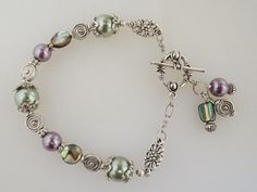 Abalone Purple and Sage Green Glass Pearl Bracelet, Sterling Silver Toggle Clasp Bracelet