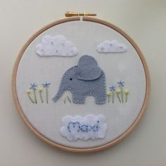 Personalised Elephant hoop art made to order in by BoxRoomBazaar