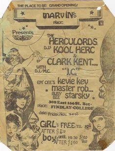Cartel flyer de The Herculords con Kool Herc y DJ Clark Kent
