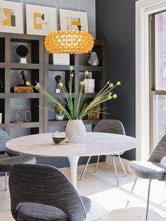 Interior Design | Built-in Shelving | Eero Saarinen | Tulip Table | Dining Room Ideas | Modern Furniture