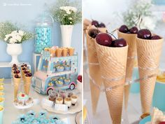 fruit in ic e cream cones for this ice-cream themed baby shower