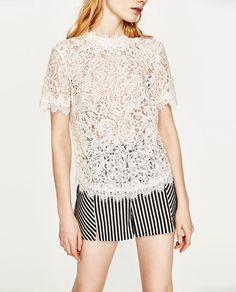 8b91eac201af5c Image 2 of EMBROIDERED LACE T-SHIRT from Zara Embroidered Lace, Shop My,