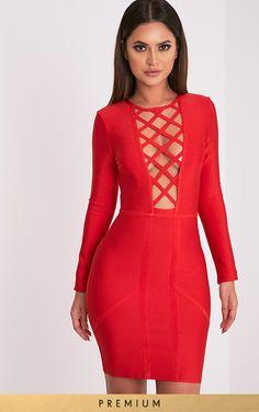 Applique floral mesh bodycon dress red