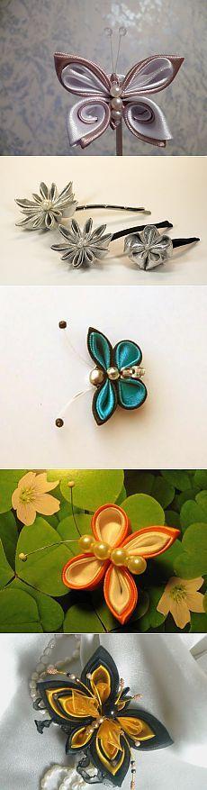 канзаши - Kanzashi butterflies, flowers Ribbon Art, Diy Ribbon, Ribbon Crafts, Ribbon Bows, Ribbon Flower, Ribbons, Kanzashi Tutorial, Flower Tutorial, Bow Tutorial
