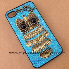 cute owl iphone 4 case blue sparkle iphone 4s by MyTeenageDream, $12.99
