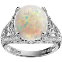Sophie Miller Lab-Created Opal and Cubic Zirconia Sterling Silver... ($79) ❤ liked on Polyvore featuring jewelry, rings, white, round ring, sterling silver rings, cubic zirconia rings, sterling silver oval ring and white ring